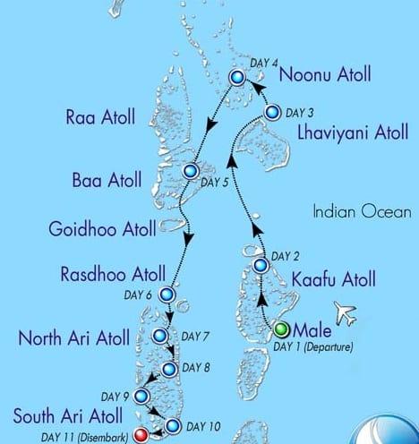 itineraire de plongee aux maldives