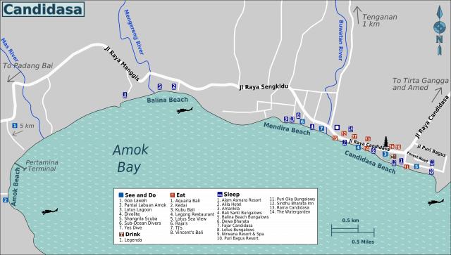 Carte Bali Candidasa.Conseils Voyage Candidasa