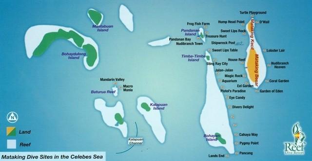 carte des spots sous-marins autour de Mataking, Malaisie