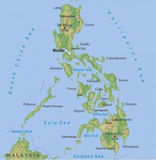 Carte plongée sites îles Philippines