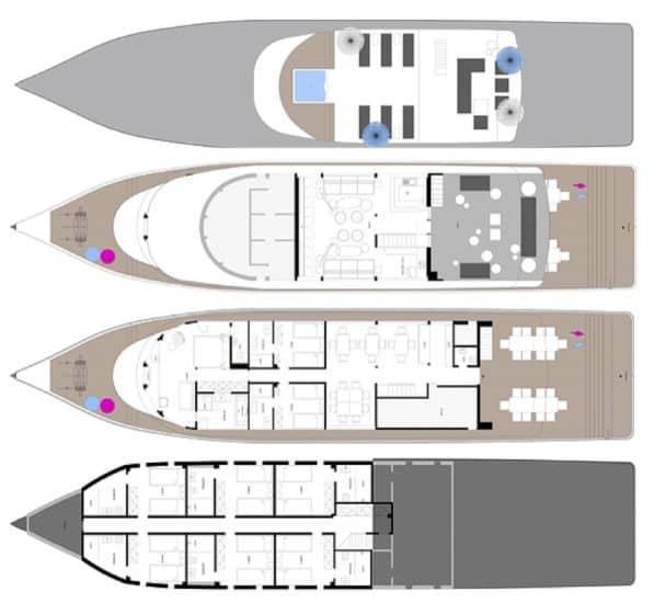 deck plan azalea liveaboard diving cruise maldives